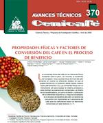 Propiedades físicas y factores de conversión del café en el proceso de beneficio